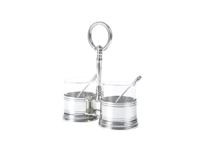 Pewter Condiment Double Jar w/Spoons