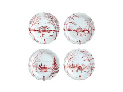 Country Estate Winter Frolic Ruby Party Plate Set/4